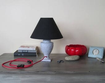"""To the word"" red and black table lamp"