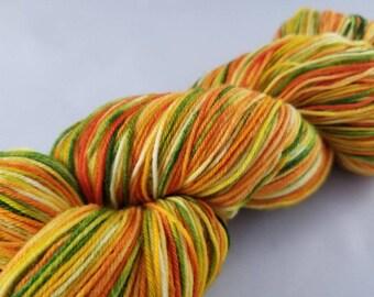 Sock yarn in Sherbet 463 yards fingering weight, hand dyed yarn, handdyed yarn, hand painted, superwash merino wool, variegated