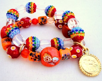 Agate, corals, murano glass and crystals with gold details, stretch bracelet