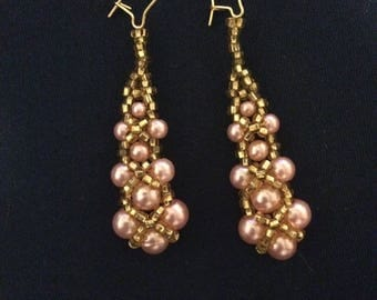 Pink pearl and gold beaded earrings