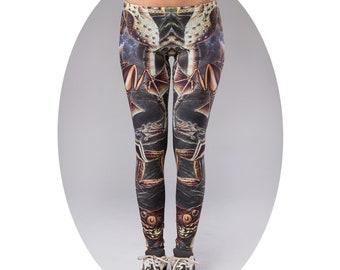 Women Leggings, Yoga Leggings, Boho Leggings, Yoga bottoms, Hand Bleach, Dyed Leggings, Colorful leggings, Festival leggings, Unique legging