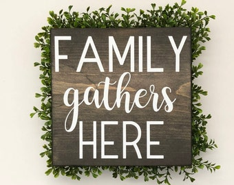 Family gathers here wood sign, wall signs, wooden signs, wall decor, wood wall art, rustic wall decor
