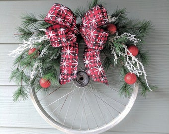 Christmas Silver Bicycle Wheel Wreath with Black, Red, and White Bow