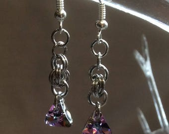Double Spiral Chain Mail Earrings with Vitrail Light Swarovski Crystal