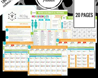 80 Day Fitness Planner | 1,800 - 2,099 Calorie Range | Printable Meal Planner | Meal Prep, Meal Plan, Grocery List & More!