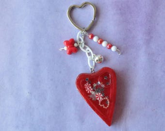 Peppermint Candy Shaker Charm Keychain