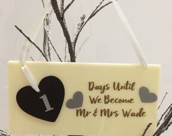 Personalised Wedding Countdown Plaque with Chalk Heart