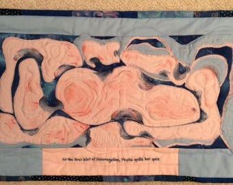Fabric Art Quilt wall hanging -abstract - pink, new original design