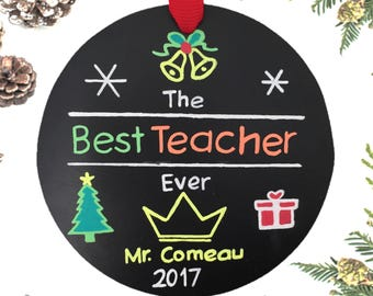 Best Teacher Ever Ornament/ Personalized Ornament/ Teacher Christmas Ornament / Teacher Christmas Gifts / Teacher Ornament / Free Burlap Bag