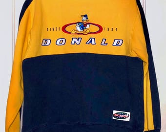90s Disney Donald Duck Color Block Crewneck Sweatshirt Adult Size Medium