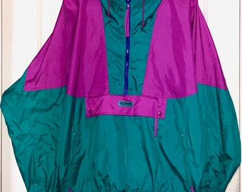 90s Columbia Sportswear Color Block Windbreaker Jacket Women's Size Large
