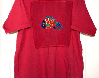 Vintage 80s/90s Tropical Coral Fish Embroidery pattern Fish Oversized T-Shirt Adult One Size Fits All