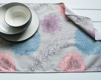 Tea Towel in Foxgloves & Chrysanthemums Teal Pattern Made from 100% Cotton