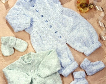 Baby Raglan Cardigan, Romper suit, Bootees & Mitts, knitting pattern, instant download.