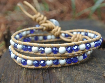 Double wrap blue and white bracelet