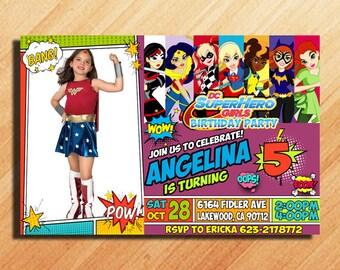 DC Superhero Girls Birthday Invitations, DC Superhero Girls Party Invitations, DC Superhero Girls Invitation, Super Hero Girls Birthday