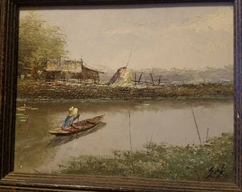Vintage Oil Painting - Canoe on River - Artist Signed
