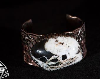 Huge • Genuine • White Buffalo • Turquoise • Cuff • Copper • Sterling Silver • White Buffalo Turquoise • White Buffalo Jewelry