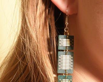 Earrings, Circuit Board Earrings, Cyberpunk Jewelry, Steampunk Jewelry, Tech Jewelry, Tech Gift Earrings, Upcycled Jewelry, Geek Jewelry