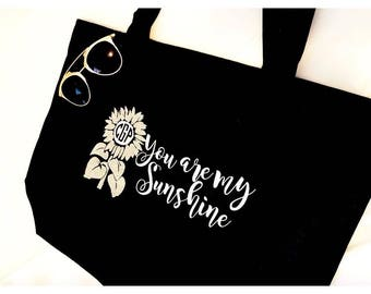 tote bag, teacher tote bag, personzlied, monogram, you are my sunshine, anchor, teach love inspire, design your own