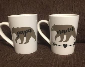 Nana Bear & Papa Bear Mugs, Coffee Cup, Bear Mug Vinyl