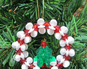 Wreath With Tree Beaded Christmas Ornament