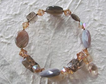 Wrap around bracelet with Botswana Agate, Smoky Quartz and Swarovski Crystal