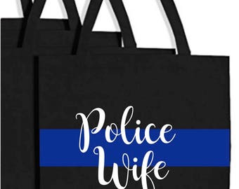 Police Wife Bag, Police support, LOVE blue line bag, Police purse, Cop Wife gift