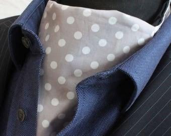 Cravat Ascot UK Made Light Grey White Polka Dot.Cravat & Hanky.Premium Cotton.