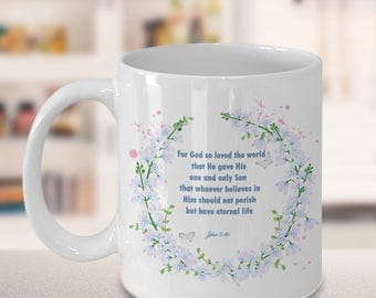"Bible Verse Gift, ""For God so loved the world.. John 3:16"" Bible Scripture Coffee Mug"