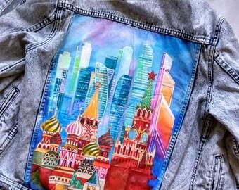 "Hand painted jacket ""Skull""; Jean jacket; art jacket; Pop-art jacket; Jacket with painting; hand painted jean jacket architecture"