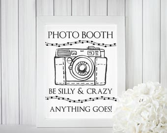 Photo Booth Sign - Wedding Signage - Printable Camera Booth Instant Download - strike a poss and say cheese - PDF 8x10