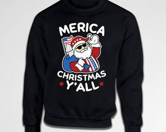 Funny Santa Sweater Christmas Jumper America Gifts For Him Holiday Pullover Xmas Present Santa Claus Merica X-Mas Crewneck Hoodie TEP-526