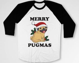 Funny Holiday T Shirt Christmas TShirt Pug Shirt Merry Xmas Gifts For Her Dog Lover Shirt Pug Owner Animal Lover Christmas Present TEP-575