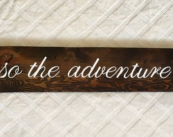 And So The Adventure Begins Wood Sign//Reclaimed Wood Sign//Rustic Wedding Decor//Rustic Home Decor//Calligraphy Sign//Farmhouse Decor
