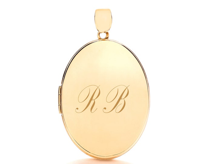 Large 9ct Gold Plain 2 Photo Oval Locket-Personalised Name/Initials & Message