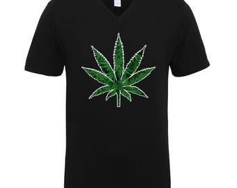 Marijuana Green Leaf 420 Friendly Weed High Adult Unisex Men Size V Neck Tee Shirts for Men and Women