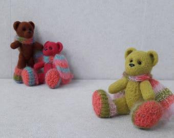 Miniature sculpture bear. Original handmade soft sculpture green bear. Felt toy bear. As a gift. Realistic bear.Miniature  felt bear