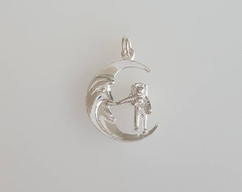 Man on the Moon Charm Pendant in .925 Sterling Silver