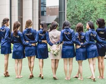 Set of 6 Bridesmaids Robes | Bridal Robe | Bridesmaid Robes | Bride Robe | Bridal Party Robes | Bridesmaid Gifts | Satin Robe | Kimono Robe