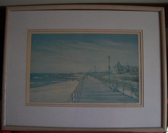 "Collectible Artist Print, Paula Kolojeski Entited 'By the Sea"" Lithograph Pencil, Signed, Numbered, Framed  Dated Ed 2/ 1986, 100/950"
