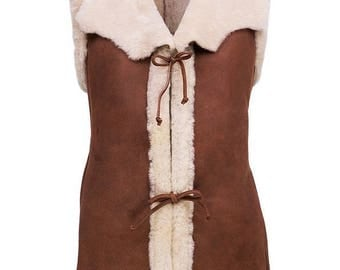 Women SHEEPSKIN vest Leather shearling jacket with fur  brown sedue leather warm pullover natural wool woolen winter christmas gift for her