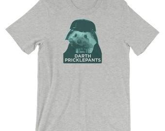 Hedgehog T-Shirt: Darth Pricklepants a Cute Funny Hedgehog Gift Short-Sleeve Unisex T-Shirt of Power by Urchin Wear