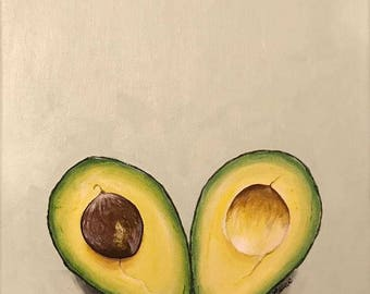 I Heart Avocado- Acrylic on Canvas