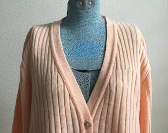 Vintage Mademoiselle knitwear light pink button sweater / cardigan