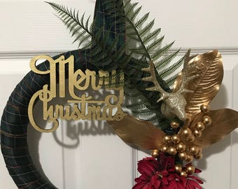 Golden Reindeer Christmas Wreath - reindeer, gold, plaid, Merry Christmas, home decor, holiday