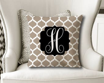 Monogram Throw PILLOW, Trellis Beige Black, Pillow Cover or With Insert, Beige Black Matching Bedding -Dorm Room Choose Your Colors