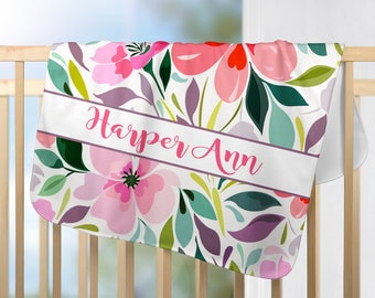 Watercolor Floral Blanket, Flower Personalized Monogram-Baby Girl Name Blanket-Baby Girl Shower Gift-Swaddle Blanket Pillow Set-Baby Pillow