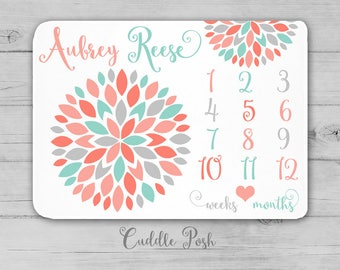 Baby Girl Milestone Blanket, Coral Aqua Gray Nursery Decor, Floral Newborn Photography, Month Growth Chart, Personalized Girl Shower Gift
