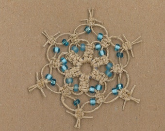 Handmade natural hemp macrame snowflake with blue glass beads by TwistedandKnottyUS